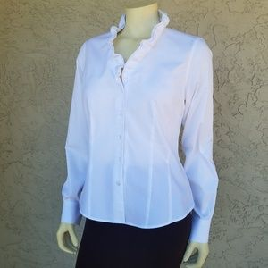 Brooks Brother White Ruffle Neck Button Up Blouse